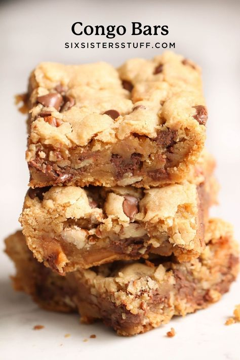 Congo Bars are thick, soft and chewy chocolate chip cookie bars that are a family favorite. If you love cookies, these Congo Bars are for you!