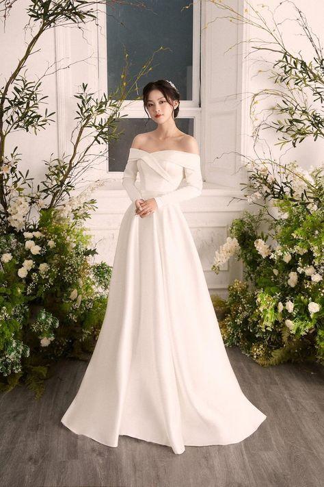 Simple a-line wedding dress,  A line satin wedding dress,Off shoulder wedding dress, Plain white wedding dress, Gentle satin wedding dress