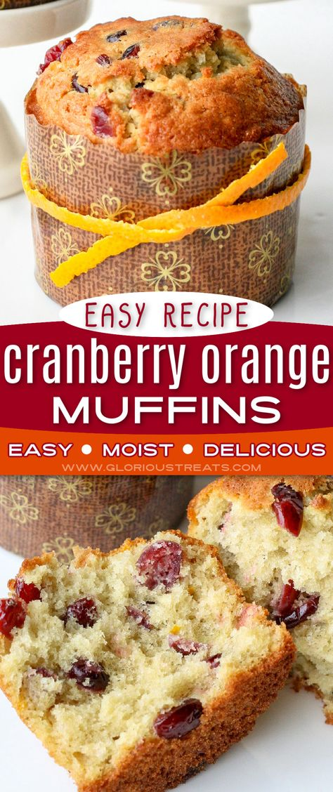 Exceptionally delicious Cranberry Orange Muffins are a must make this holiday season! Incredibly moist with a wonderfully tender crumb, this cranberry orange muffin recipe is beautifully flavored with fresh oranges and dried cranberries. Truly a memorable addition to any holiday breakfast or brunch! // GLORIOUS TREATS #cranberryorangemuffins #muffins #muffinrecipe #cranberry #orange