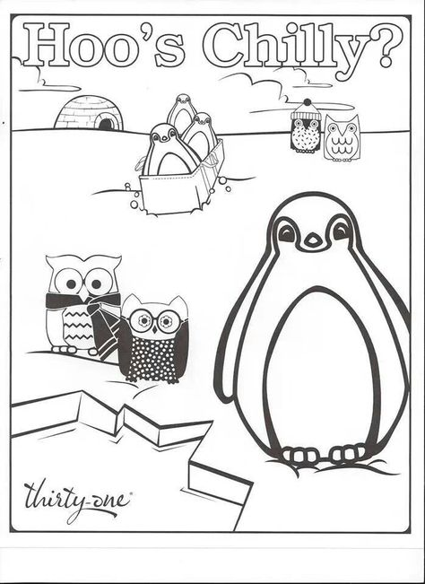 """Thirty-one coloring page for the kids...features """"Hoo's Chilly""""... the popular owl pattern!!"""