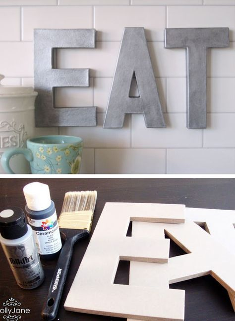 Try it with 'Yummy' :) Anthro Inspired Faux Zinc Letters | Click Pic for 28 DIY Kitchen Decorating Ideas on a Budget | DIY Home Decorating on a Budget