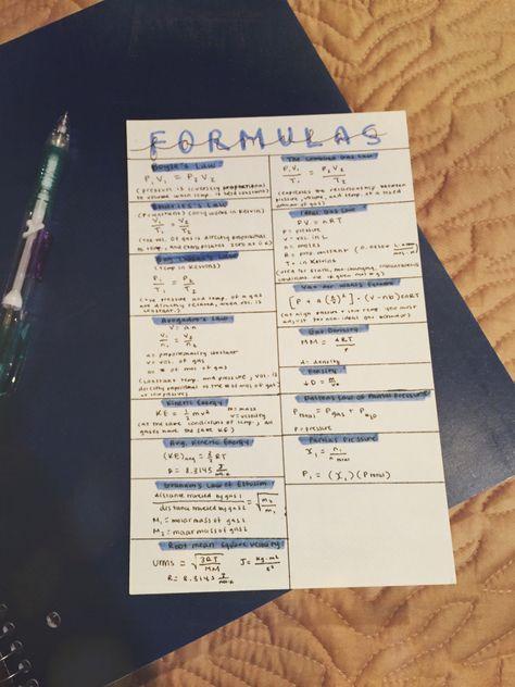 Formula Card For Ap Chemistry Studyblr Ap Chemistry Chemistry Notes School Study Tips