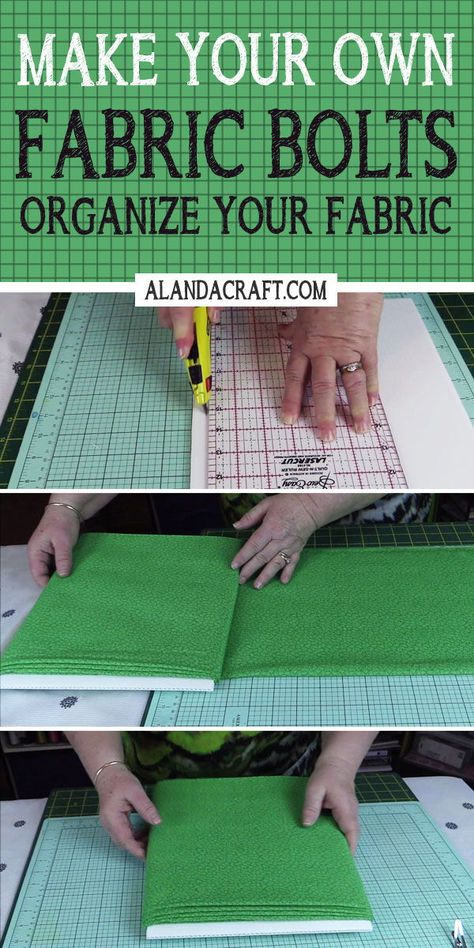 How to Organise Your Quilting Fabrics: Make Your Own Mini-Bolts Tired of the fabric clutter? Here is our diy project on how to make mini-bolts that will help you to organize the fabric stash, and keep it neat and tidy. Check out our free diy project. Sewing Room Design, Sewing Room Storage, Sewing Room Organization, Fabric Storage, Sewing Studio, Sewing Pattern Storage, Fabric Organizer, Ribbon Storage, Craft Storage