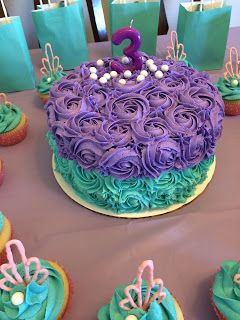 little mermaid birthday party cake and cupcakes