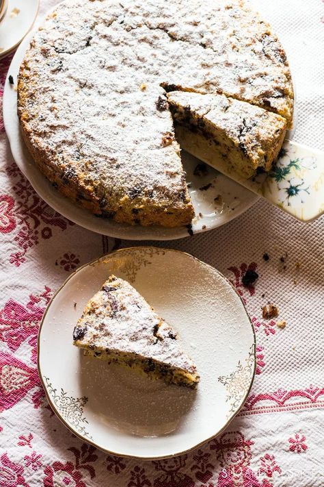 ricotta chocolate cake-slice in the plate