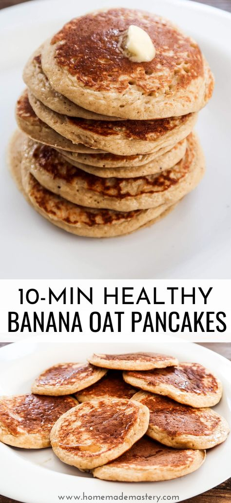 oatmeal banana pancakes - an easy healthy breakfast recipe that you can make with only 5 ingredients - bananas eggs oats yogurt and baking powder! These healthy banana oatmeal pancakes are also delicious as a healthy dessert.The perfect healthy pancakes! Healthy Breakfast Recipes, Healthy Baking, Healthy Recipes, Healthy Snacks, Healthy Breakfasts, Breakfast Smoothies, Healthy Desserts With Bananas, Healthy Pancake Recipe, Healthy Banana Cookies