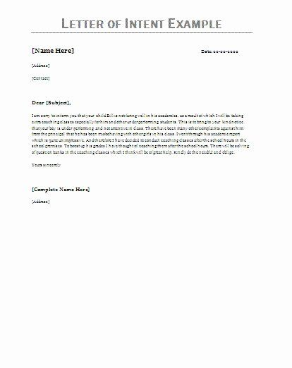 Examples Of Letter Of Intent Elegant Letter Intent Examples Letter Of Intent Letter Example Lettering