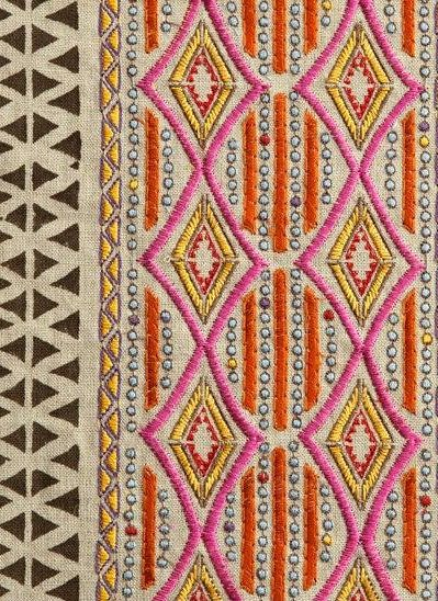 Fabric Details: Embroidered and Block Printed Designer fabric Fabric Content: Linen/Viscose Colorway: Pink - also available in silver, second photo Back: Ivory Linen Finishing: Invisible zipper closure, triple stitched seams and overlocked edges Care: Dry clean only Please Note: