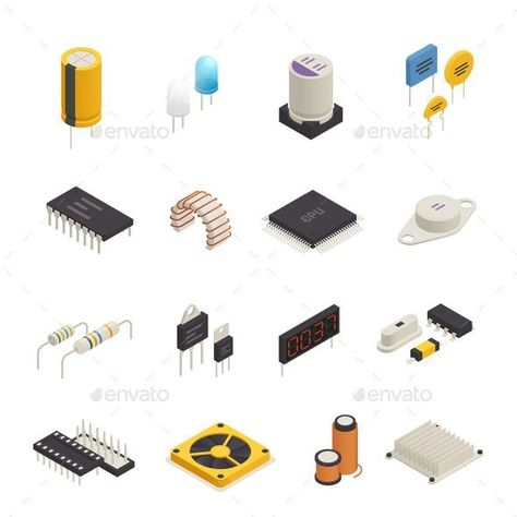 Semiconductor Electronic Components Isometric Set  #vector #VectorGraphics #GraphicRiver #industry #BestDesignResources