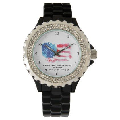 Military Veteran Red White Blue Us Flag Lady S Watch Zazzle Com Blue Heart Red White Blue Red And White