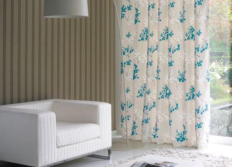 Collection FANCY GARDEN. Chic, audace, couleurs, nature, fleurs, beige, blanc, bleu, papier-peint, rideaux