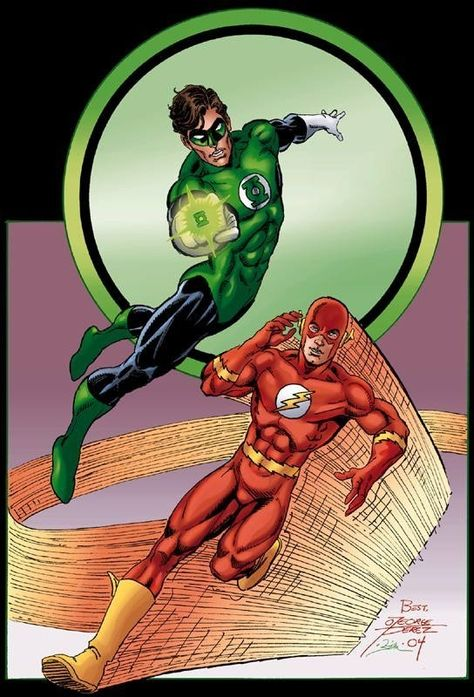Perez Green Lantern & Flash... digital, in the September 2005: DC Characters Who Have Died Comic Art Sketchbook