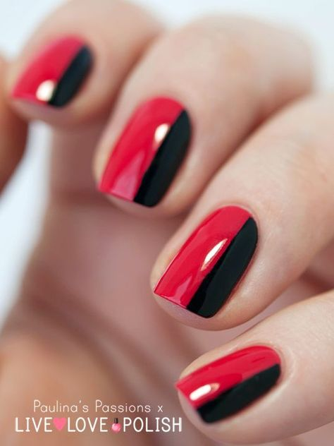 If you are classic and you love feminine manicures, you should do the most easy manicure. Divide each nail in half and paint them black and red.
