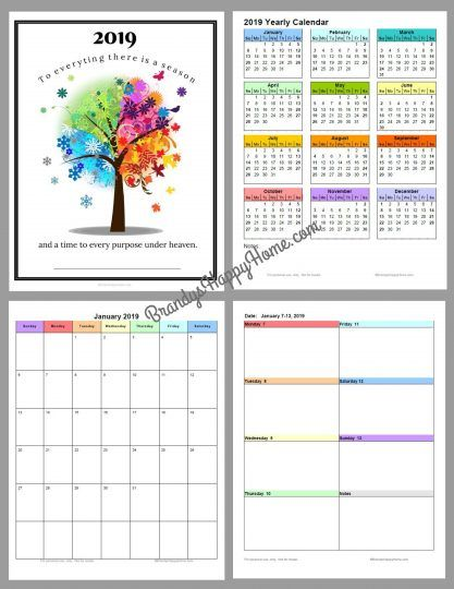 image about Free Printable 5.5x8.5 Planner Pages referred to as Cost-free 2019 Do it yourself Calendar Planner Printables 2019 Printable