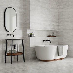 Wickes Callika Mist Grey Porcelain Wall Floor Tile 600 X 300mm In 2020 Light Grey Bathrooms Grey Bathrooms Bathroom Ideas Uk