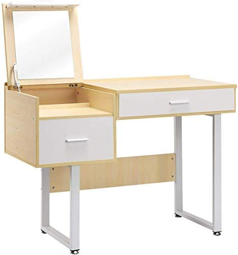 Buy Goflame Vanity Table Flip Top Mirror Makeup Dressing Table Computer Laptop Desk 2 Drawers Work Study Dual Use Table W 5 Organizer Large Storage Space In 2020 Bedroom Vanity Table Storage