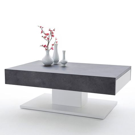 Couchtisch Lania I Beton Dekor Matt Weiss 2 Schubladen Tisch