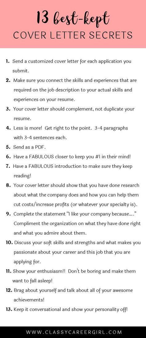 The 13 Best Kept Cover Letter Secrets Cover Letter For Resume Cover Letter Tips Job Career