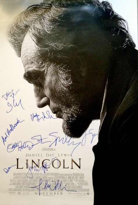 Lincoln (2012) movie poster cast signed by Daniel Day-Lewis, Sally