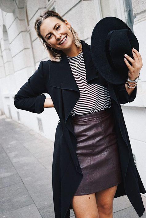 Outfit: Herbstlook mit Lederrock & Streifenshirt - fashion for ffranzy
