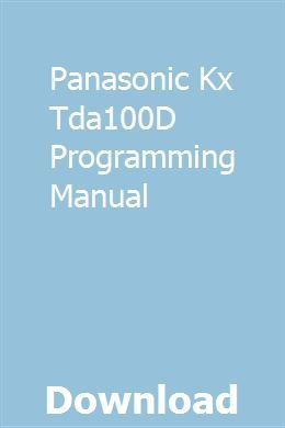 Panasonic Kx Tda100d Programming Manual Manual Panasonic Programming
