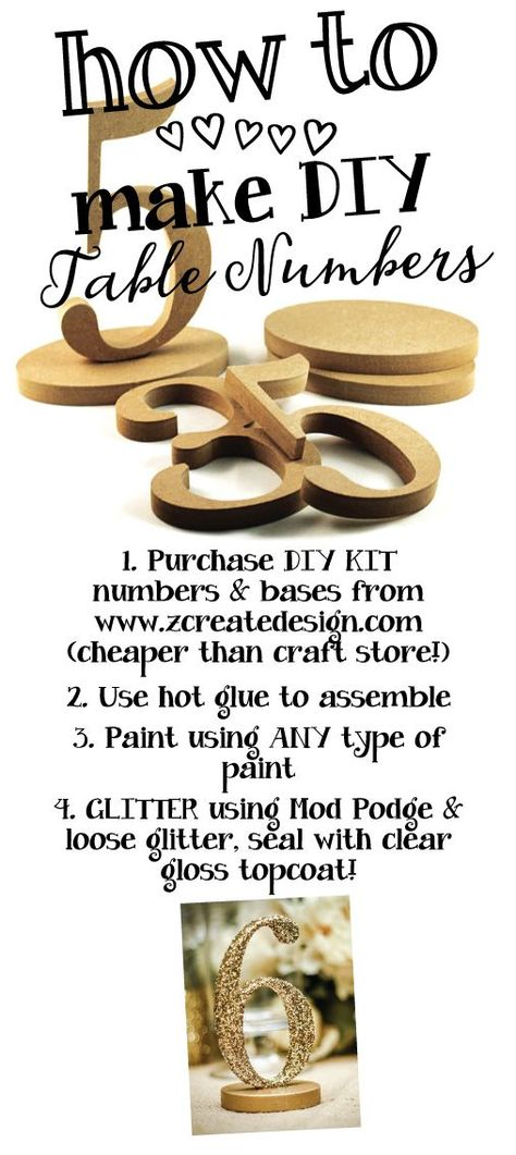 HOW TO make DIY Table Numbers | 2015 Wedding Ideas from Z Create Design www/zcreatedesign.com