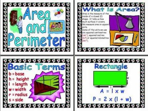 Perimeter and area song...sticks in your hear for sure..that's a good thing!!