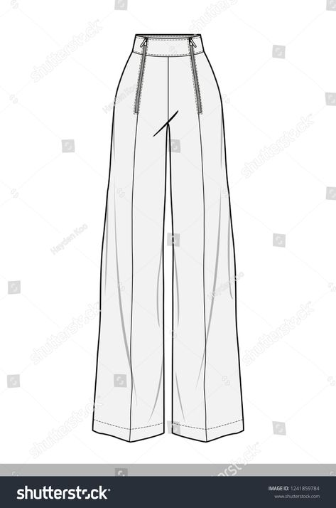Pants fashion flat technical drawing template  https://www.etsy.com/shop/HaydenkooDesigns