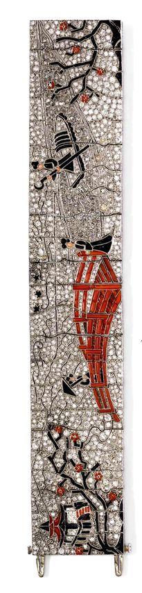 ONYX, CORAL AND DIAMOND BRACELET, LACLOCHE FRÈRES, ca. 1925. Platinum. Rare, exquisite Art Deco bracelet depicting a Chinese garden scene: Signed Lacloche Frères.