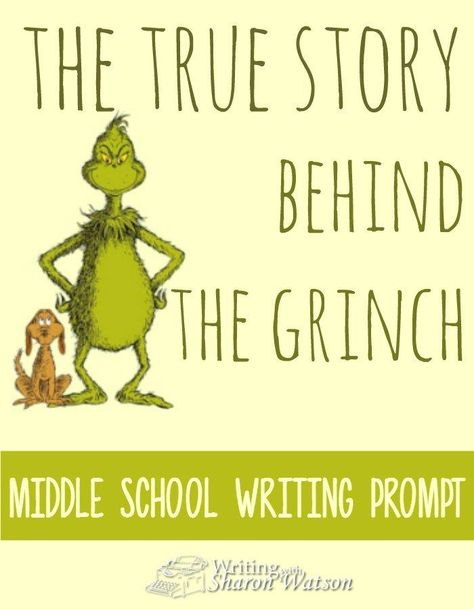 "The story behind Dr. Seuss and the Grinch The Story Behind Dr. Seuss and the Grinch MIDDLE SCHOOL WRITING PROMPT: Read the fascinating story behind Dr. Seuss and the Grinch. Then write your own ""complaint"" and its solution. Writing with Sharon Watson - Middle School Writing Prompts, Christmas Writing Prompts, Holiday Writing, Middle School Activities, Middle School Reading, Writing Classes, Middle School Classroom, Middle School English, Writing Lessons"