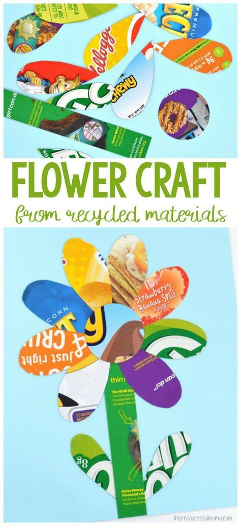 This simple and colorful recycled materials flower craft is a great way for kids to celebrate recycling by turning discarded items into art. #kidscraft #recycling #earthday #flowers #craftsforkids #recycled crafts kids preschool classroom Recycled Materials Flower Craft for Kids
