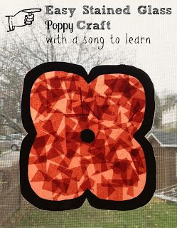 Poppy Crafts & Song for #RemembranceDay / #VeterensDay - simple enough for preschooler