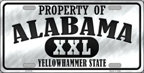 Property of Alabama Yellowhammer State Novelty Metal License Plate