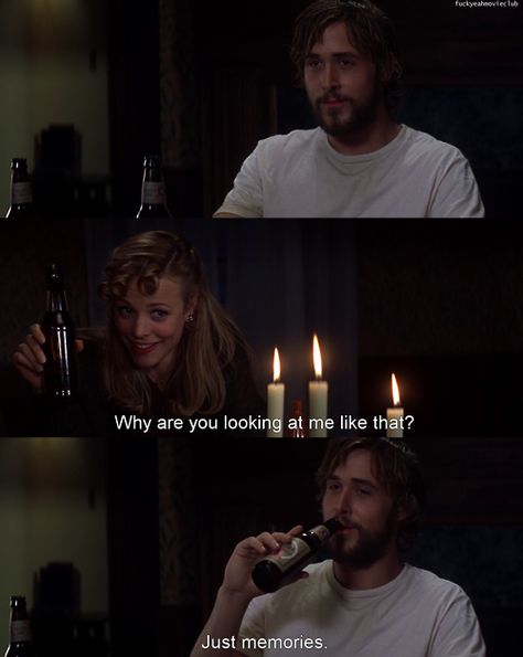 Ryan Gosling and Rachel McAdams. The Notebook. I love this movie~ it absolutely puts on the big screen what your first love is all about.you never ever get over that first, heart pounding! Love Movie, Movie Tv, The Notebook Quotes, The Notebook Scenes, Movie Club, Cinema Tv, Favorite Movie Quotes, Movie Lines, Romance Movies