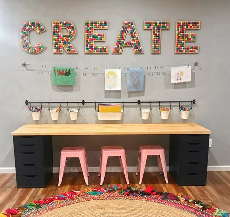 Kids Homework Station, Kids Homework Room, Study Room For Kids, Art Desk For Kids, Kids Art Station, Home Daycare, Home School Room Ideas, Home School Organization, Homework Organization
