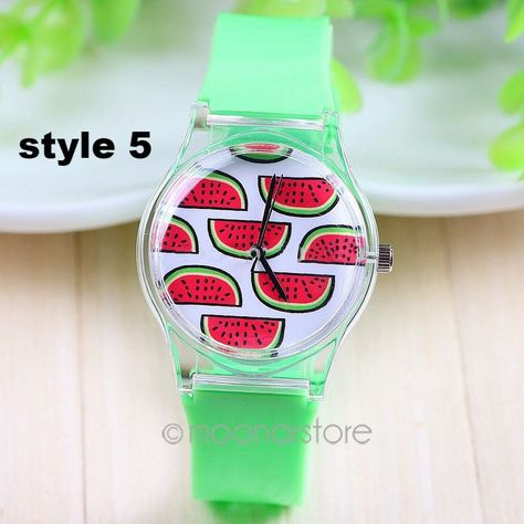 7 Styles New Arrival Jelly Silicone Watermelon Fruit Quartz Watch Plastic Women Charm Dress Watch Green Color Silicon Band
