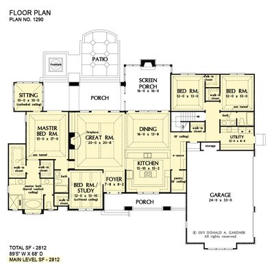 House Plan The Chesnee By Donald A Gardner Architects Craftsman House Plans Ranch House Plans Country House Plans