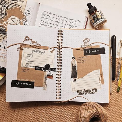bullet journal update! —— this is my weekend spread for this weekend; i has to take photos for this upcoming week early since my room is being deep cleaned so photos this upcoming week may be a bit sparse looking :/ i wanted to do a clothesline type spread because i haven't really played with string in my journals but the binder clip stamps kind of ruined that effect lol.