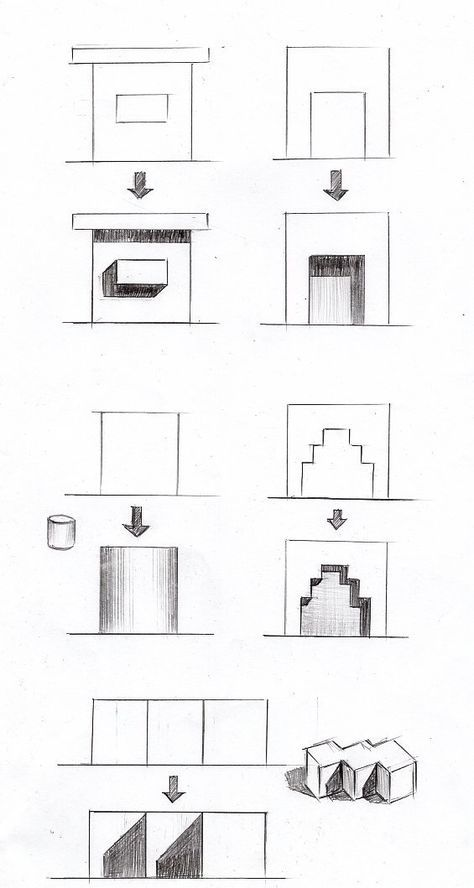 立面図の影のつけ方の基本パターン14種類 透視図 影 パース