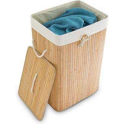 Relaxdays Opvouwbare Wasmand Bamboe Hout Waszak Katoen 3