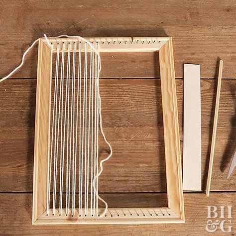 How to Make and String a Loom Before you can master weaving you first need to build a loom. Learn how with our easy step-by-step instructions. The post How to Make and String a Loom appeared first on Weaving ideas. Weaving Loom Diy, Rug Loom, Loom Craft, Weaving Art, Tapestry Weaving, Hand Weaving, Loom Weaving Projects, Yarn Crafts, Diy Crafts