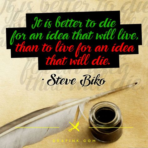 Good Ideas Never Die. #SteveBiko (aka StephenBantuBiko) was a #SouthAfrican anti-apartheid activist. Ideologically an African nationalist and socialist, he was at the forefront of a grassroots anti-apartheid campaign known as the #BlackConsciousness Movement during the late 1960s & 1970s. This was created on #AdobePhotoshop and the #typeface used is called #Ampera... #Art #CryFreedom #LifeOrDeath #Freedom #Ideas #Inspiration #Knowledge #Liberation #Liberty #Mood #Motivation #Pen #Political