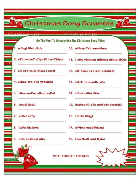 Christmas Scramble Christmas Song Game Printable Christmas | Etsy