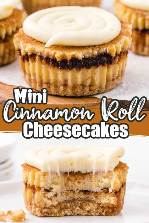 Mini Cinnamon Roll Cheesecakes are a fun muffin tin cheesecake recipe that's easy to make and absolutely delish! Our creamy cheesecake with a cinnamon sugar swirl and cream cheese frosting - they taste just like a cinnamon roll in a bite-size cheesecake!