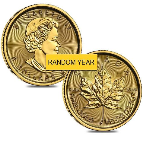 Lot Of 2 1 10 Oz Canadian Gold Maple Leaf Coin Random Year Coins Maple Leaf Mint Bar