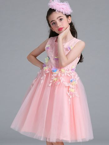 a8013f0d4440c Little/Big Girls Elegant Lace Sleeveless Flower Party Dress for 2-15 ...