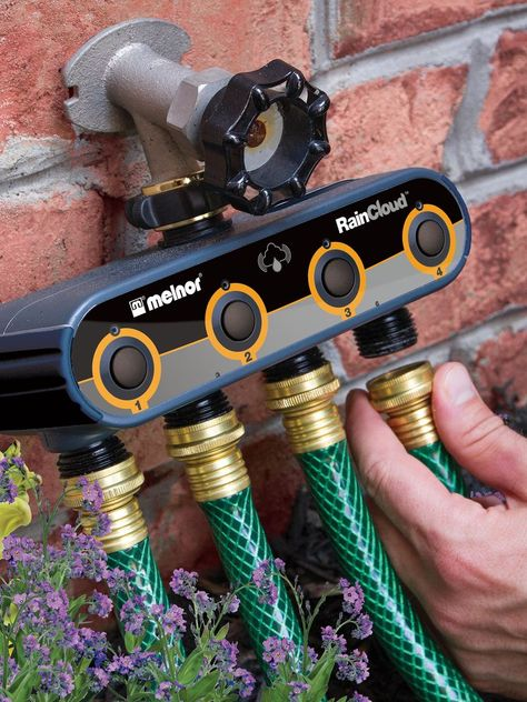 The WiFi Garden Hose AquaTimer by Melnor advances the art and science of lawn and garden care. The Wifi AquaTimer lets you directly control your watering Irrigation Timer, Water Irrigation, Irrigation Systems, Micro Irrigation, Drip Irrigation System Design, Garden Irrigation System, Drip System, Aquaponics System, Garden Supplies