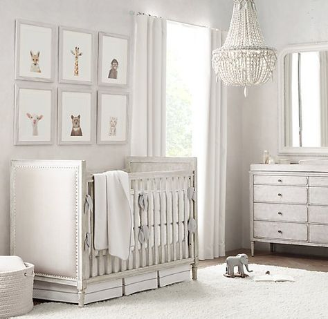set the tone for a neutral nursery. vintage grey furnishings. tonal bedding. understated décor. #rhbabyandchild