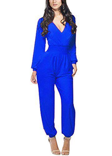55e56260333e Engood Women s Long Sleeve Deep V-Neck Comfy Harem Waist Jumpsuits Romper  with Pockets