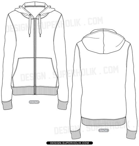 Zip-up Hoodie template-Fashion design vector body form flat sketch